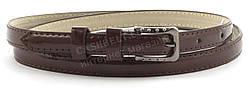 Женский тонкий ремешок с искусственной кожи высокого качества коричневого цвета лак (101487)