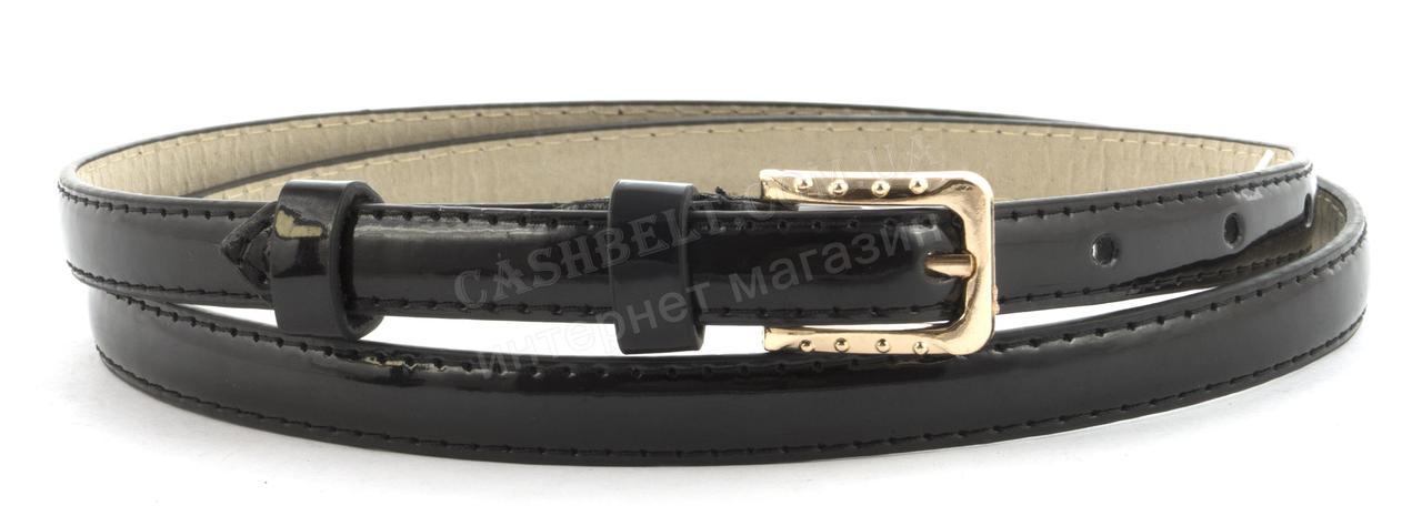 Женский тонкий ремешок с искусственной кожи высокого качества черного цвета лак (101573)