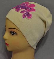 """Вязаные шапки для девочки """"Юкки орхидея""""."""