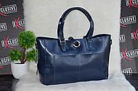 Женская кожаная сумка синяя. Двухсторонняя.