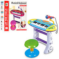 Детское электронное пианино синтезатор с микрофоном и стульчиком BB383: 2 цвета, музыка + свет