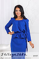Стильный костюм блузка с юбкой большого размера индиго