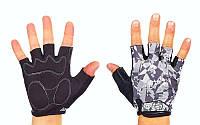 Перчатки спортивные SCOYCO ВG14-BKGR (PL, PVC, лайкра, открытые пальцы, р-р S-XXL, черный-серый)