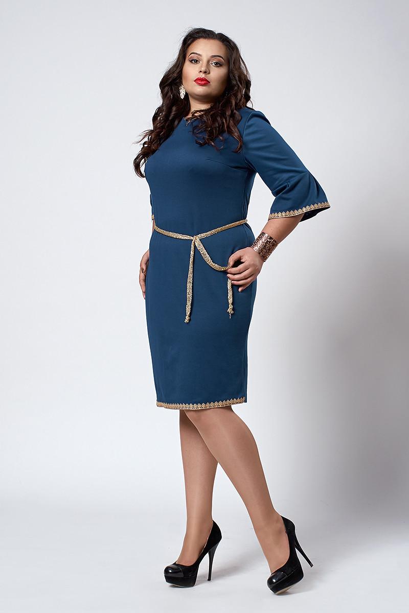 Платье мод №294-4, размеры 50,52.54 морская волна