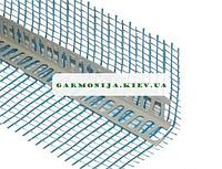 Угол перфорированный пластиковый с сеткой зеленой, синей 125 пл 2.5 м