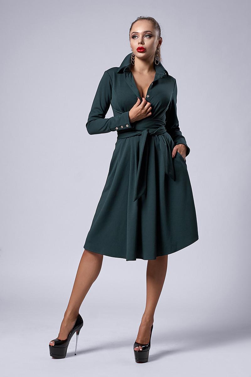 Платье мод №538-2, размеры 46 бутылочное
