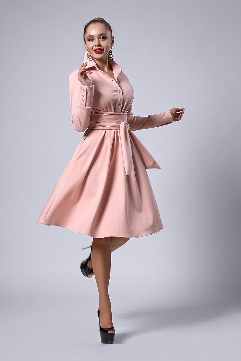 Платье мод №538-3, размеры 50 пудра