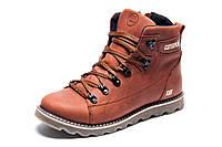 Ботинки на меху CAT Caterpilar, зимние, мужские, натуральная кожа, рыжие, р. 40 42 44