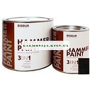 Краска специального назначения молотковая 105 черная Biodur, 0.7 л