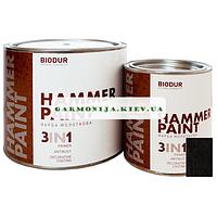 Краска специального назначения молотковая 105 черная Biodur, 2.1 л