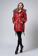 Зимняя женская молодежная куртка. Код К-62-12-17. Цвет марсала.