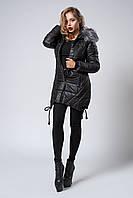 Зимняя женская молодежная куртка. Код К-62-12-17. Цвет черный.