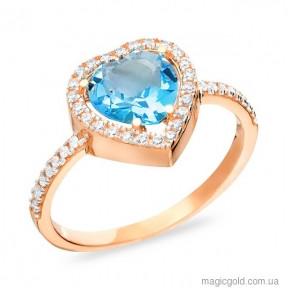 Золотое кольцо с голубым кварцем Сердце Океана
