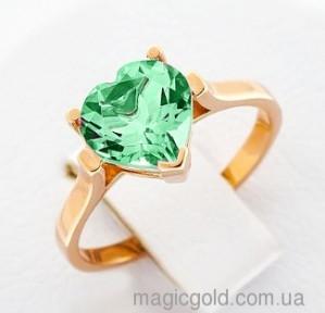 Золотое кольцо с зеленым кварцем
