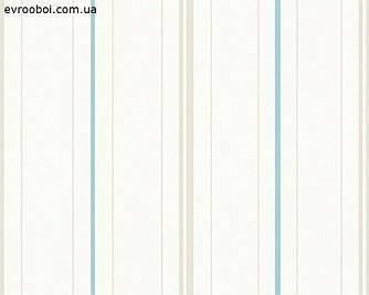 Обои моющиеся флизелиновые, в голубую полоску 346742.