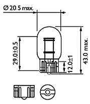 Светодиодная автомобильная лампа в задний фонарь автомобиля с цоколем T20(7443)(W21W/5W) 24W 9-30V-Красный, фото 3