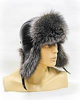 Мужская шапка из меха енота ушанка.(тонированная)