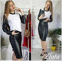 Костюм женский модный свитшот и юбка карандаш стеганая эко-кожа Kz572