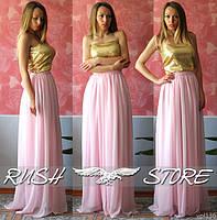 Платье в пол из пайеток и шифона