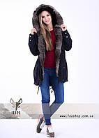 Черная куртка парка с мехом кролика, размер 50 - 52, XL