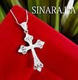 Серебряный крестик с камнями женский - Срібний хрестик з камінчиками, фото 2