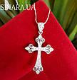Серебряный крестик с камнями женский - Срібний хрестик з камінчиками, фото 3