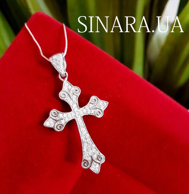 Серебряный крестик с камнями женский фото 1