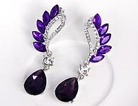 Серьги с фиолетовыми кристаллами