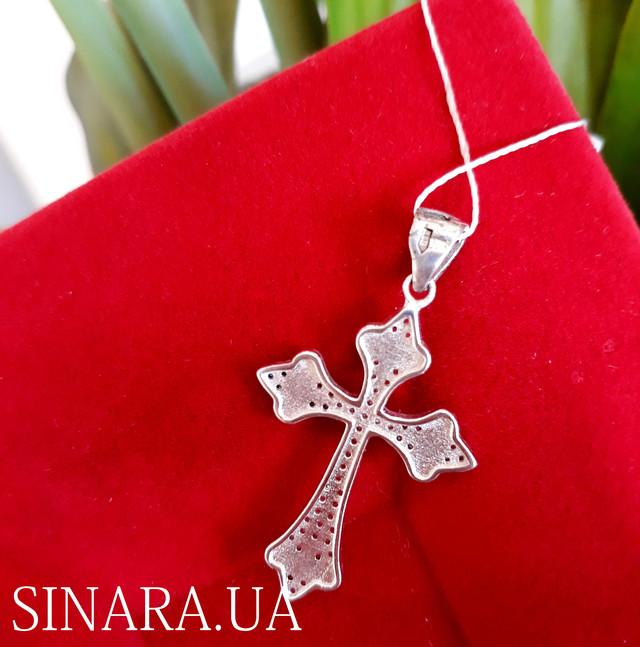 Серебряный крестик с камнями женский фото 3