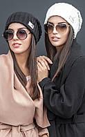 Женская вязаная шапка с фактурным узором Yuzer (разные цвета)