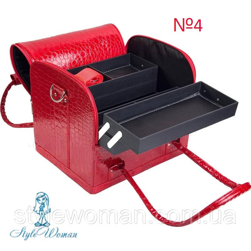 Сумка кейс чемодан для мастера салонов красоты из гладкого кожзама на змейке
