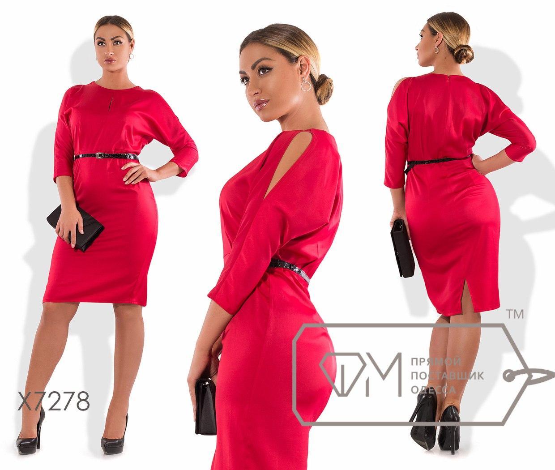 21e33bfd285 Платье-футляр миди приталенное из стрейч-атласа под пояс с зауженными  рукавами-кимоно