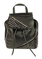 Женский черный рюкзак с металлическими заклепками, фото 1