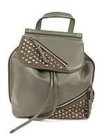 Женский серый рюкзак с металлическими заклепками, фото 1