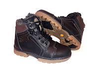 Ботинки подростковые зимние кожаные на замочке коричневые и черные 0083УКМ