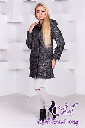 Весеннее женское пальто с капюшоном (р. S, M, L) арт. Эльза 1353 - 8860, фото 2