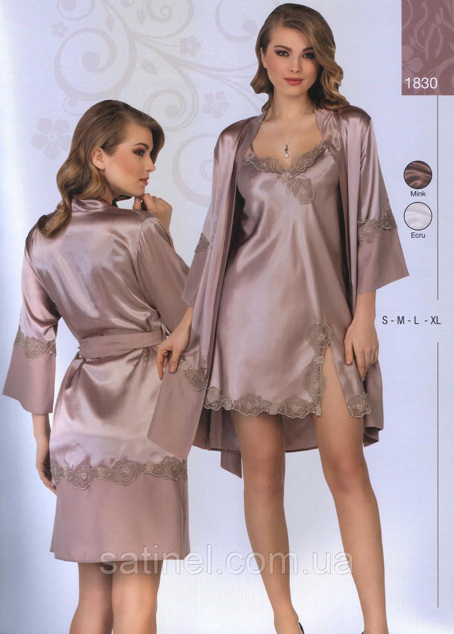 4dcc35080b0e Атласная ночная сорочка и халат Jasmin 1830 44, кофейный, цена 610 грн.,  купить в Хмельницком — Prom.ua (ID#591083502)