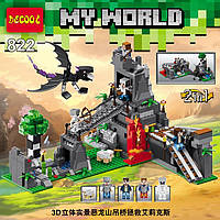 Конструктор Decool серия My World 822 Атака Дракона Края 2в1 (аналог Lego Майнкрафт, Minecraft)