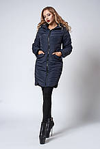 Женское демисезонное пальто. Код модели К-102-37-18. Цвет темно синий.
