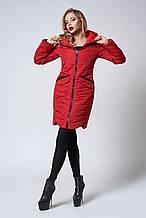 Женское демисезонное пальто. Код модели К-102-37-18. Цвет красный.