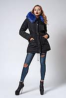 Женская молодежная зимняя парка с ярким мехом. Код модели К-104-59-18. Цвет черный.