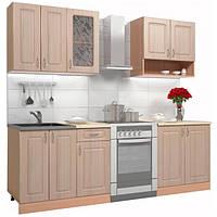 Кухонный гарнитур 1,8 м из МДФ (кухня модульная, дуб молочный)