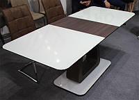 Стол раскладной ТМ-521 вставка МДФ венге, столешница белое стекло, 140-180х80х76Н