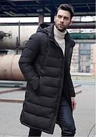 Зимняя куртка-пальто с отстёгивающимся капюшоном (черная)