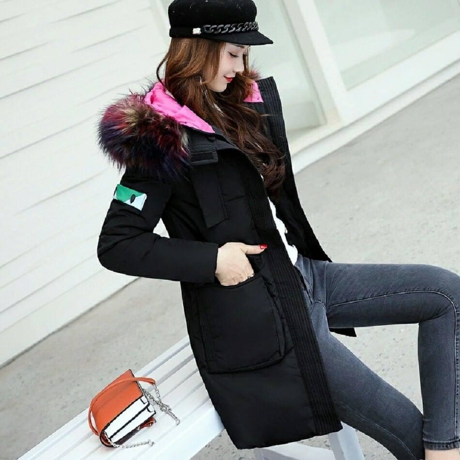 Куртка парка на пуху (черная с розовым подкладом). Оригинал.