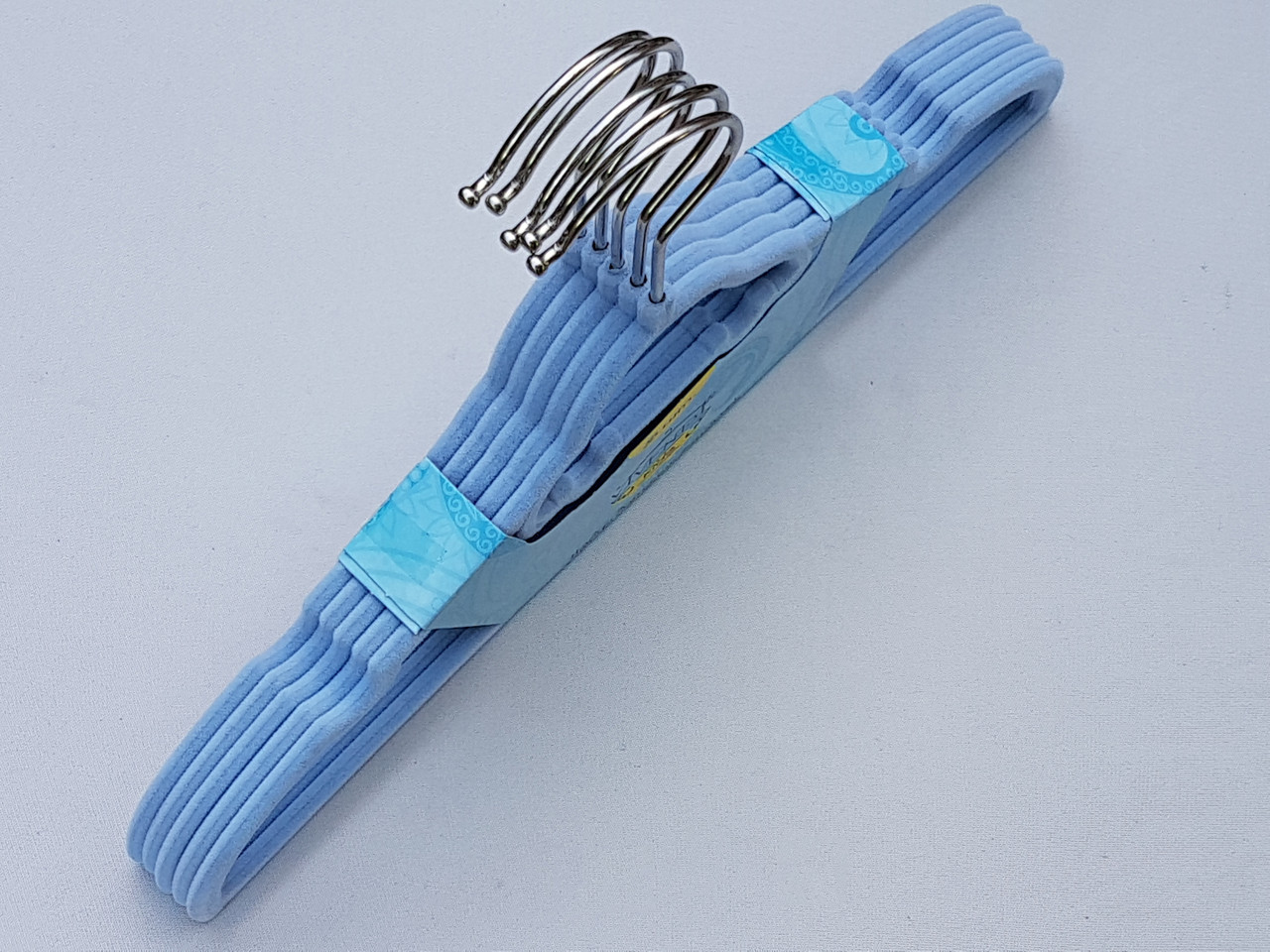 Плечики детские флокированные (бархатные) голубые, 32,5 см, 5 штук в упаковке