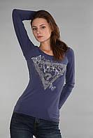 Стильная синяя женская футболка с длинным рукавом (реплика) Guess