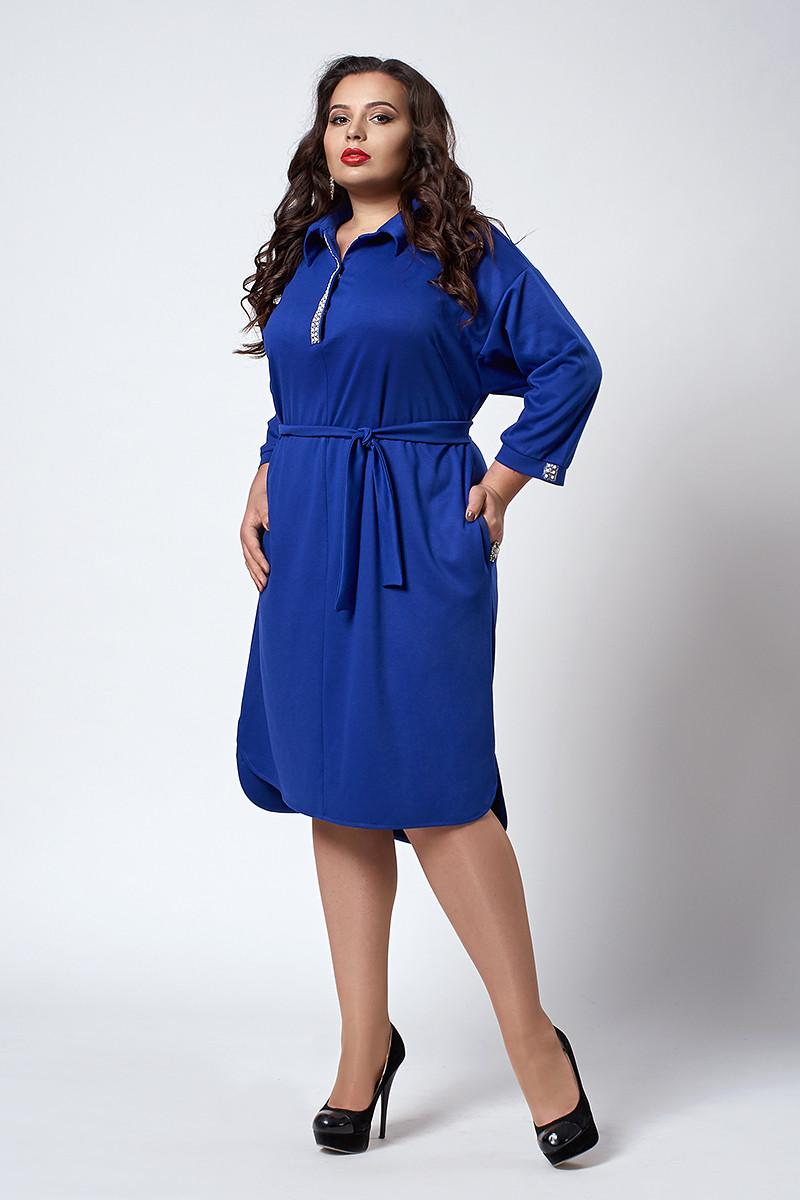 Платье мод. №539-4, размер 52,54,56,60 электрик