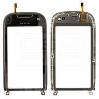 Nokia C7 Сенсорный экран  с рамкой, черный