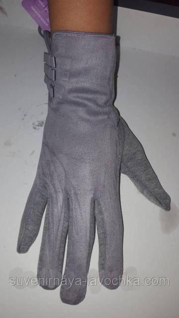 Перчатки женские комбинированные замш трикотаж внутри плюшка
